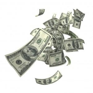 Floating $100 bills